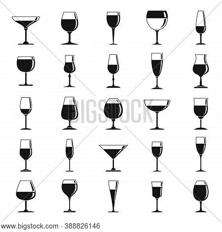 Wineglass Icons Set. Simple Set Of Wineglass Vector Icons For Web Design On White Background