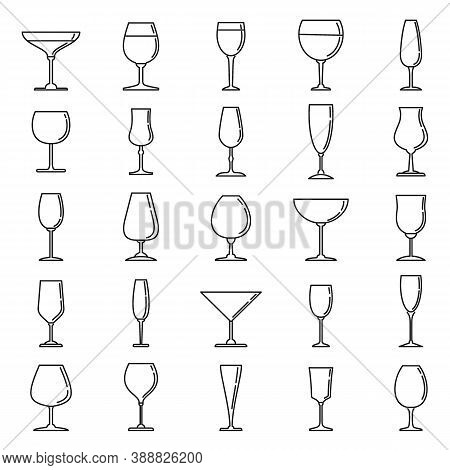 Home Wineglass Icons Set. Outline Set Of Home Wineglass Vector Icons For Web Design Isolated On Whit