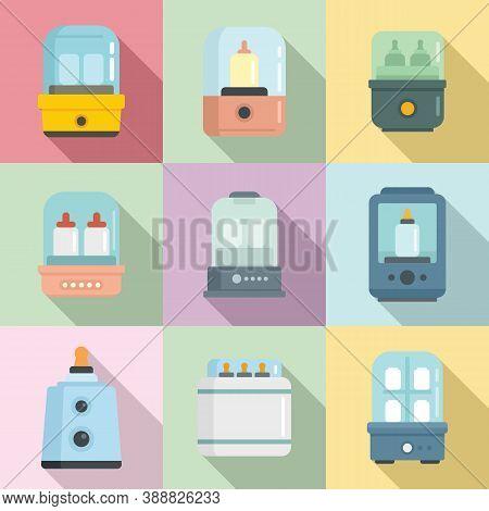 Bottle Sterilizer Icons Set. Flat Set Of Bottle Sterilizer Vector Icons For Web Design