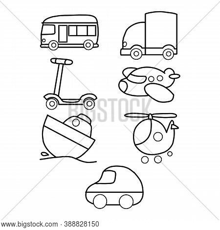 Transport Silhouette. Airplanes Ship Car Train Vehicle Logistic Icons Vector Transporting Symbols. S