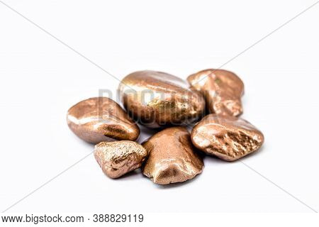 Copper Nugget In Solid State, Is A Chemical Element, With Applications In Metal Alloys, Industrial U