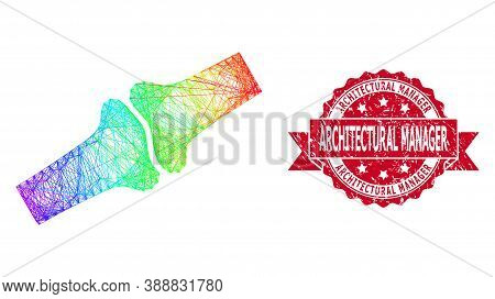 Bright Vibrant Wire Frame Bone Joint, And Architectural Manager Rubber Ribbon Seal Print. Red Stamp