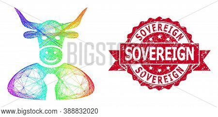 Spectrum Vibrant Net Bull Boss, And Sovereign Rubber Ribbon Stamp Seal. Red Seal Includes Sovereign