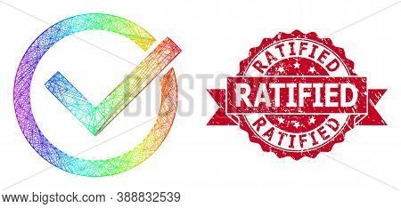 Rainbow Colored Net Accept Tick, And Ratified Dirty Ribbon Seal Imitation. Red Stamp Seal Has Ratifi
