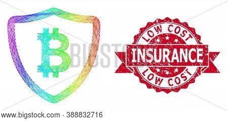 Rainbow Colorful Wire Frame Bitcoin Shield, And Low Cost Insurance Corroded Ribbon Seal. Red Stamp S