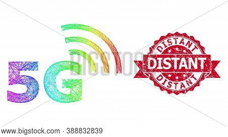 Rainbow Colorful Net 5g Symbol, And Distant Corroded Ribbon Stamp Seal. Red Stamp Seal Contains Dist