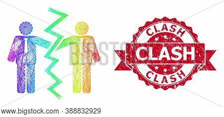 Rainbow Vibrant Wire Frame Businessmen Divorce, And Clash Unclean Ribbon Seal Print. Red Seal Includ