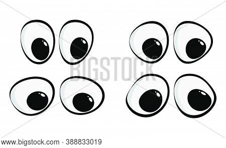 Cartoon Eyes Collection Isolated On White. Happy Eyesight For Caricature People. Eps10 Vector Set. C