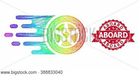 Bright Colorful Wire Frame Car Wheel, And Aboard Rubber Ribbon Stamp. Red Stamp Contains Aboard Capt