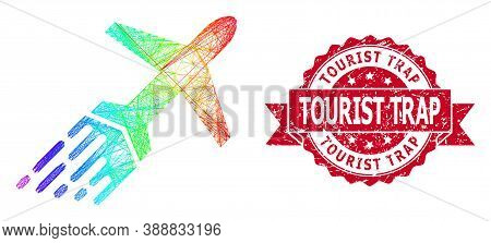 Spectrum Vibrant Net Air Liner, And Tourist Trap Rubber Ribbon Seal. Red Stamp Seal Includes Tourist