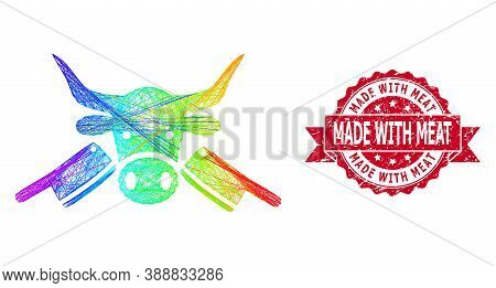 Rainbow Colorful Net Butchery, And Made With Meat Grunge Ribbon Stamp Seal. Red Stamp Seal Has Made