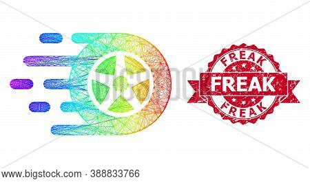 Bright Colorful Network Car Wheel, And Freak Grunge Ribbon Stamp Seal. Red Stamp Seal Includes Freak