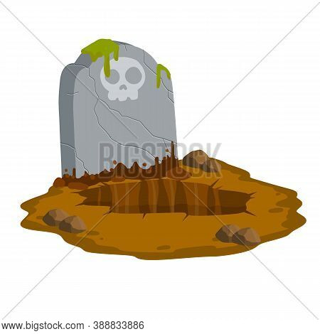 Stone Tombstone Stands On Ground With Grave. Celebration Of Halloween. Cartoon Illustration. Skull O