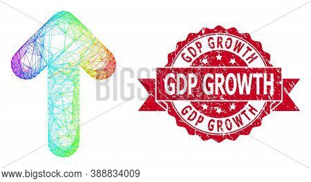 Rainbow Colored Network Arrow Up, And Gdp Growth Grunge Ribbon Seal Print. Red Seal Includes Gdp Gro