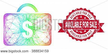 Rainbow Vibrant Wire Frame Business Case, And Available For Sale Scratched Ribbon Seal Imitation. Re