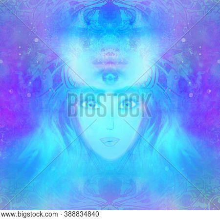 Woman With Third Eye, Psychic Supernatural Senses , Raster