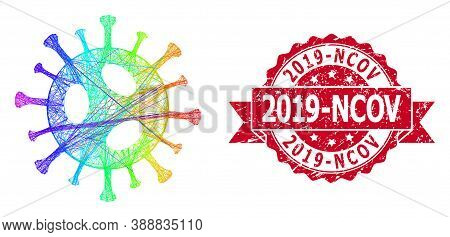 Rainbow Vibrant Network 2019-ncov Virus, And 2019-ncov Corroded Ribbon Stamp. Red Stamp Contains 201