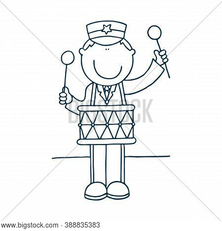 Excited Drummer Playing Music With Sticks On Drums. Talented Musician Character Performing On Stage