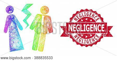 Rainbow Colorful Wire Frame Broken Wedding, And Negligence Dirty Ribbon Seal Imitation. Red Stamp Se