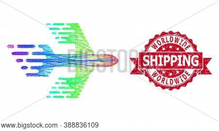 Rainbow Colored Network Airplane, And Worldwide Shipping Dirty Ribbon Seal Imitation. Red Stamp Has