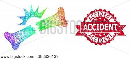 Spectrum Vibrant Wire Frame Bone Fracture, And Accident Rubber Ribbon Seal Imitation. Red Seal Has A