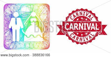 Rainbow Colored Network Bride And Groom, And Carnival Corroded Ribbon Seal Print. Red Seal Includes