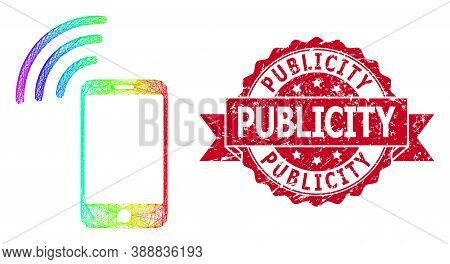Rainbow Colored Network Cellphone Signal, And Publicity Textured Ribbon Stamp Seal. Red Stamp Seal C