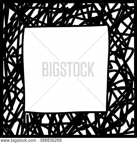 Black Square Frame, Chaotic Hatching Mesh. Black And White Design Element For Decoration. Simple Doo