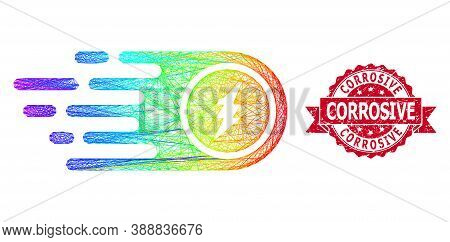 Spectrum Colorful Network Electrical Rush, And Corrosive Scratched Ribbon Stamp Seal. Red Stamp Seal