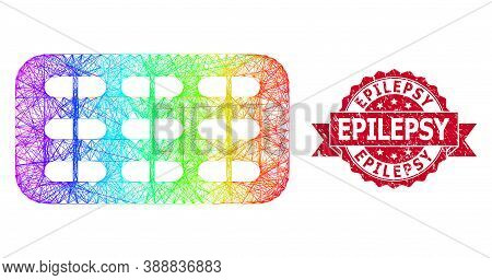 Bright Colored Net Pill Blister, And Epilepsy Dirty Ribbon Stamp. Red Stamp Includes Epilepsy Title