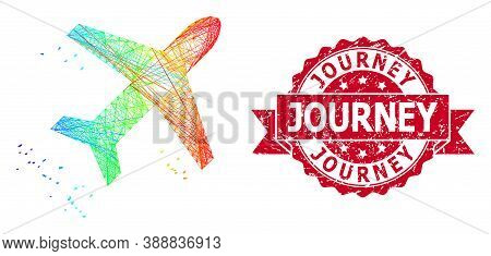Rainbow Colored Network Flying Air Liner, And Journey Grunge Ribbon Seal. Red Seal Contains Journey