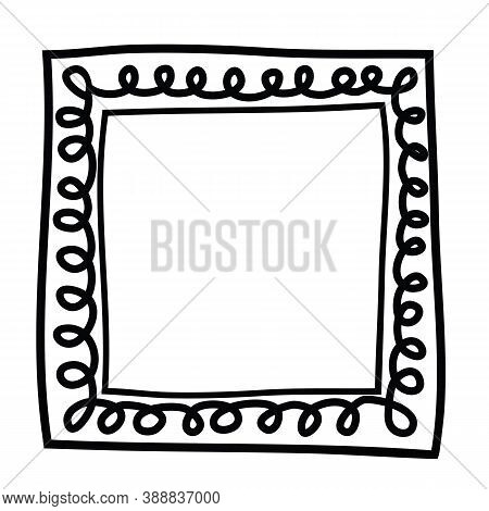 Hand Drawn Square Frame With Curls. Black And White Design Element For Decoration. Simple Doodle Bor