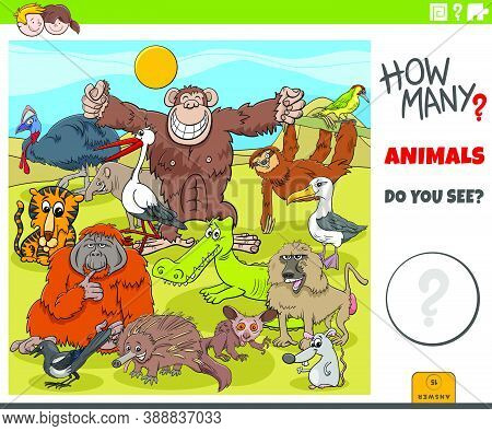 Illustration Of Educational Counting Game For Children With Cartoon Wild Animal Characters Group