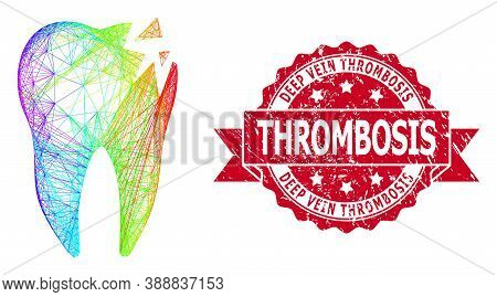 Bright Colored Wire Frame Cracked Tooth, And Deep Vein Thrombosis Unclean Ribbon Seal. Red Stamp Sea