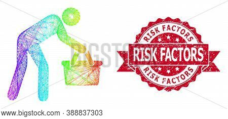 Bright Colored Wire Frame Tired Buyer Persona, And Risk Factors Scratched Ribbon Seal. Red Stamp Sea