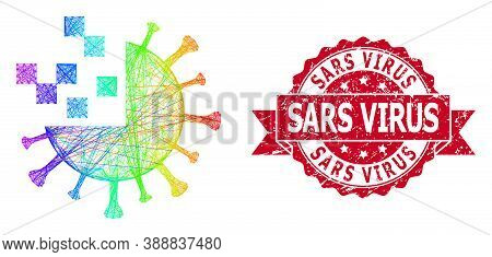 Spectrum Vibrant Wire Frame Synthetic Virus, And Sars Virus Corroded Ribbon Seal Print. Red Seal Inc
