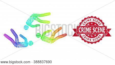 Rainbow Vibrant Network Dead People, And Crime Scene Grunge Ribbon Seal. Red Stamp Includes Crime Sc
