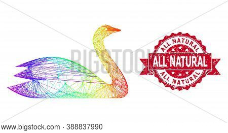 Rainbow Vibrant Net Goose, And All Natural Dirty Ribbon Seal Print. Red Seal Contains All Natural Ta