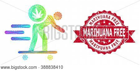 Rainbow Colorful Network Express Cannabis Courier, And Marihuana Free Corroded Ribbon Stamp Seal. Re