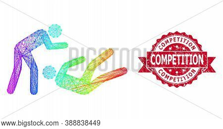 Bright Vibrant Wire Frame Judo Struggle, And Competition Rubber Ribbon Stamp Seal. Red Stamp Seal Ha