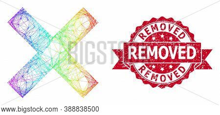 Spectrum Colorful Wire Frame Reject Cross, And Removed Dirty Ribbon Seal. Red Stamp Seal Contains Re