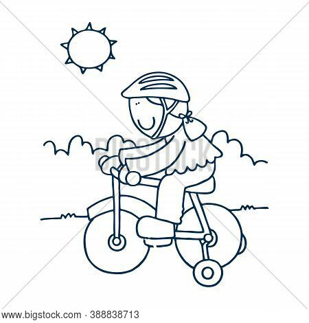 Flat Vector Cartoon Illustration Of Bicycling Woman In Warm Clothing. Female Character Riding Bicycl