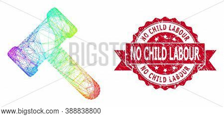 Bright Colorful Network Hammer, And No Child Labour Dirty Ribbon Stamp. Red Stamp Includes No Child