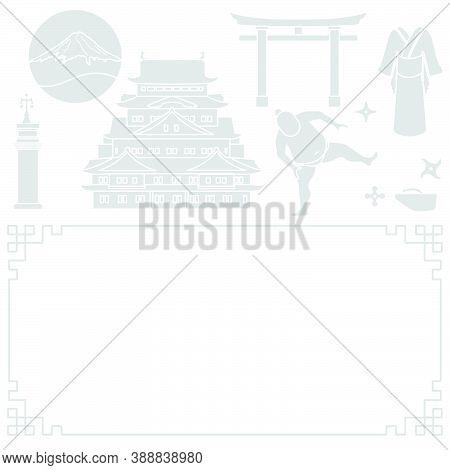 Vector Illustration Symbols Of Japanese Culture Castle, Kimono, Sumo Wrestler, Shurikens, Mountain F
