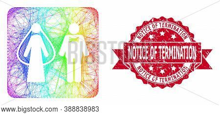 Bright Colorful Wire Frame Weds Persons, And Notice Of Termination Corroded Ribbon Seal. Red Seal In