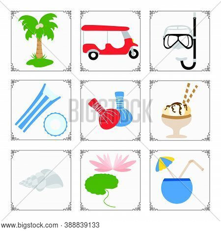 Thailand Symbols Set Vector Illustration Tuk-tuk, Palm Tree, Mask, Tube, Inflatable Ring, Mattress,