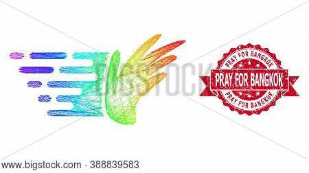 Bright Vibrant Net Hand, And Pray For Bangkok Corroded Ribbon Seal Print. Red Seal Includes Pray For
