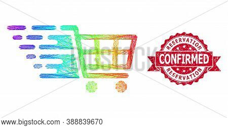 Spectrum Colored Net Supermarket Cart, And Reservation Confirmed Grunge Ribbon Stamp Seal. Red Stamp