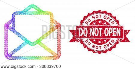 Rainbow Vibrant Network Open Letter, And Do Not Open Scratched Ribbon Stamp Seal. Red Stamp Seal Con