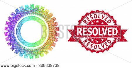 Rainbow Vibrant Network Clock Gear, And Resolved Dirty Ribbon Watermark. Red Stamp Contains Resolved
